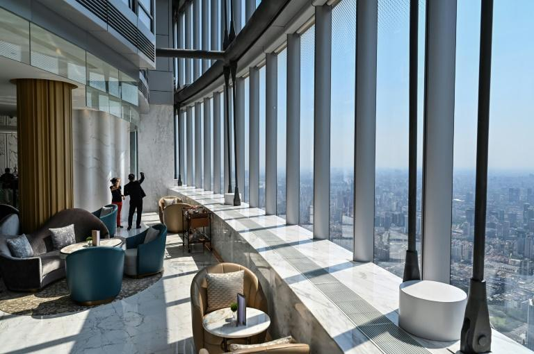 View of the J Hotel, the world's highest luxury hotel, boasting a restaurant on the 120th floor and 24-hour personal butler service, located in the Shanghai Tower