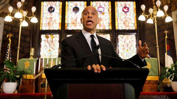 PHOTO: Democratic presidential candidate Cory Booker speaks about gun control at Mother Emanuel AME Church, Aug. 7, 2019, in Charleston, S.C. (Mic Smith/AP)