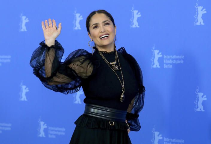 """FILE - Salma Hayek attends a photo call for """"The Roads Not Taken"""" at the 70th International Film Festival, Berlinale, in Berlin, Germany, on Feb. 26, 2020. Hayek turns 55 on Sept. 2. (AP Photo/Michael Sohn, File)"""