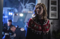 """This image released by Universal Pictures shows Judy Greer in """"Halloween Kills,"""" directed by David Gordon Green. (Ryan Green/Universal Pictures via AP)"""