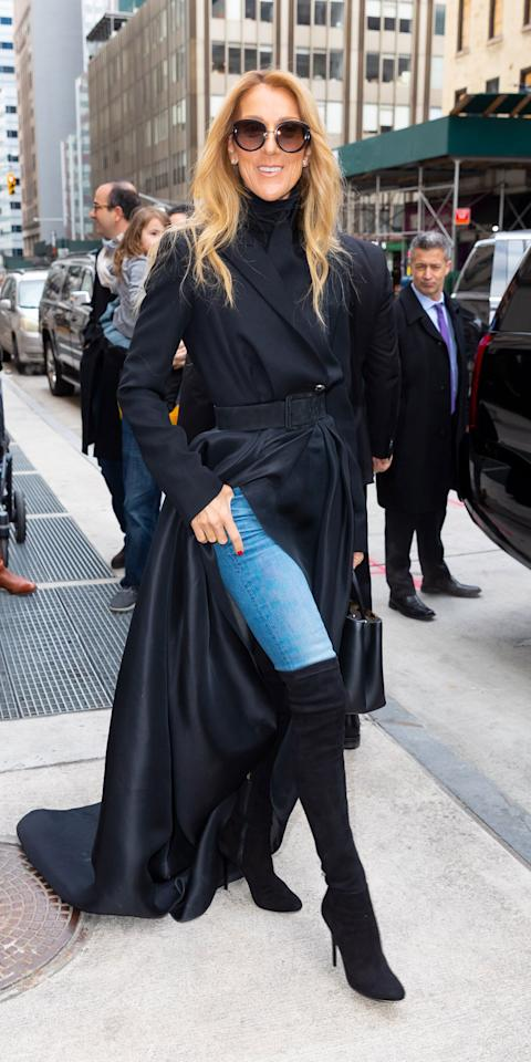 """<p>Celine Dion has a thing for coats that are bigger than <a href=""""https://www.instyle.com/news/celine-dion-floral-coat"""">the size of most NYC apartments</a> and this weekend she wore an exaggerated wool jacket by Brandon Maxwell (<strong>Shop similar:</strong> $3,900; <a href=""""https://click.linksynergy.com/deeplink?id=93xLBvPhAeE&mid=37385&murl=https%3A%2F%2Fwww.modaoperandi.com%2Fthe-row-fw20%2Fowen-belted-wool-blend-long-coat%3Fcolor%3Dblack&u1=IS%2CCelineDion%2Canesta%2C%2CIMA%2C3527435%2C202003%2CI"""" target=""""_blank"""">modaoperandi.com</a>) that could easily home a family of four. The coat <a href=""""https://click.linksynergy.com/deeplink?id=93xLBvPhAeE&mid=37385&murl=https%3A%2F%2Fwww.modaoperandi.com%2Fbrandon-maxwell-pf20%2Fexaggerated-wool-jacket%3F&u1=IS%2CCelineDion%2Canesta%2C%2CIMA%2C3527435%2C202003%2CI"""" target=""""_blank"""">has since sold out</a> and easily cost triple our rent but thankfully Dion styled the look with an accessible pair of thigh high boots (<strong>Shop similar: </strong>$70; <a href=""""https://click.linksynergy.com/deeplink?id=93xLBvPhAeE&mid=1237&murl=https%3A%2F%2Fshop.nordstrom.com%2Fs%2Fchinese-laundry-king-over-the-knee-boot-women%2F5234473%2Ffull%3F&u1=IS%2CCelineDion%2Canesta%2C%2CIMA%2C3527435%2C202003%2CI"""" target=""""_blank"""">nordstrom.com</a>) and vintage wash jeans (<strong>Shop similar:</strong> $265; <a href=""""https://click.linksynergy.com/deeplink?id=93xLBvPhAeE&mid=1237&murl=https%3A%2F%2Fshop.nordstrom.com%2Fs%2Fre-done-originals-ultra-high-waist-ankle-jeans-dusty-blue%2F5508625%2Ffull%3F&u1=IS%2CCelineDion%2Canesta%2C%2CIMA%2C3527435%2C202003%2CI"""" target=""""_blank"""">nordstrom.com</a>).</p>"""