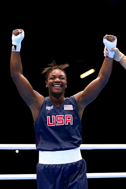 Claressa Shields celebrates after defeating Anna Laurell at the London Games (Getty Images)