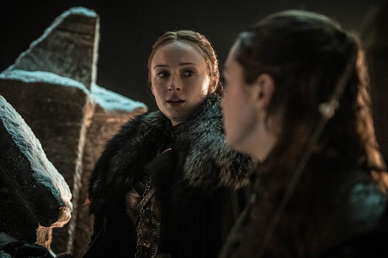 Sophie Turner as Sansa Stark and Maisie Williams as Arya Stark. | Helen Sloan/HBO