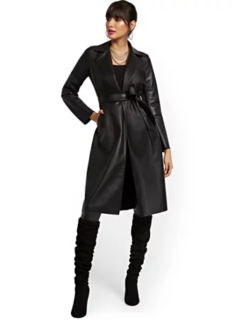 """<br><br><strong>New York & Company</strong> Faux Leather Flyaway Trenchcoat, $, available at <a href=""""https://go.skimresources.com/?id=30283X879131&url=https%3A%2F%2Fwww.nyandcompany.com%2Fresponsibly-treated-faux-leather-flyaway-trenchcoat%2FA-prod21020002%2F"""" rel=""""nofollow noopener"""" target=""""_blank"""" data-ylk=""""slk:New York & Company"""" class=""""link rapid-noclick-resp"""">New York & Company</a>"""