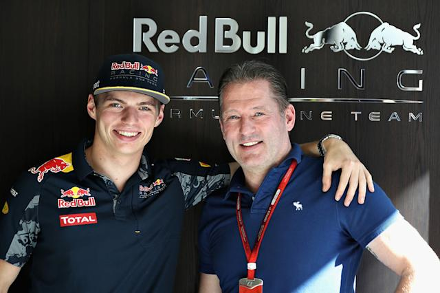 "Max Verstappen, Red Bull Racing with his father Jos Verstappen <span class=""copyright"">Red Bull Content Pool</span>"