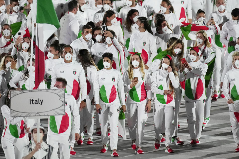 Italy had the worst outfits of the Opening Ceremony, and it's even more disappointing considering who designed them. (AP Photo/David J. Phillip)