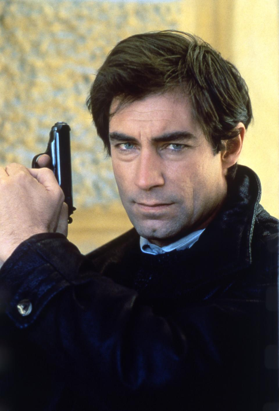 """Actor Timothy Dalton on the set of """"The Living Daylights"""". (Photo by Sunset Boulevard/Corbis via Getty Images)"""