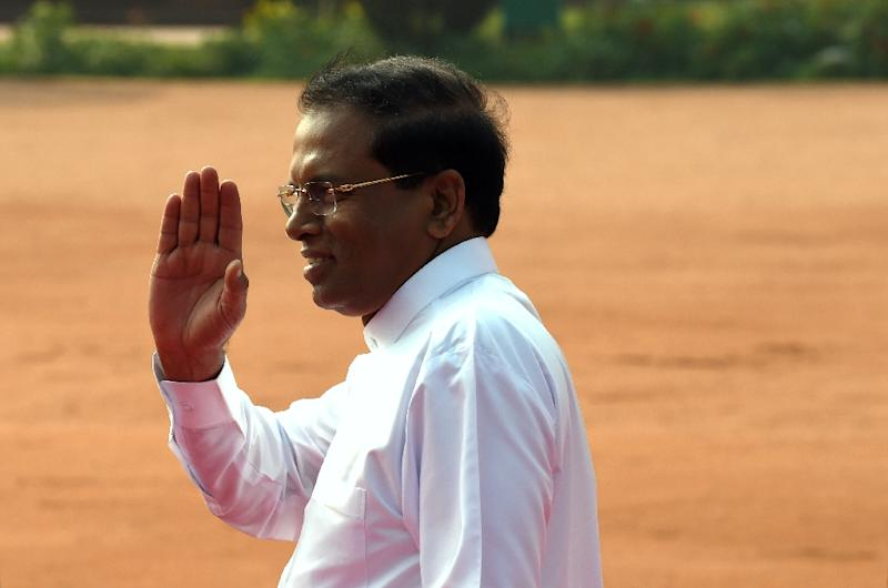 Sri Lankan President Maithripala Sirisena in New Delhi on February 16, 2015 (AFP Photo/Roberto Schmidt)