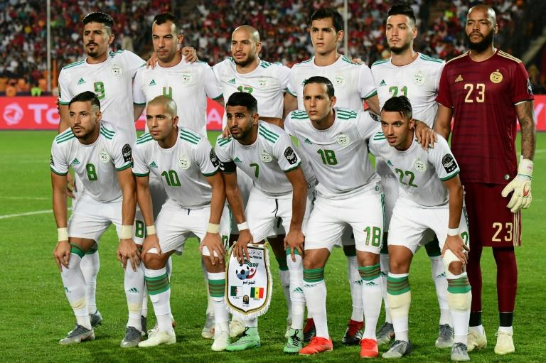 Algeria pose before defeating Senegal in the 2019 Africa Cup of Nations final in Cairo to win the competition a second time