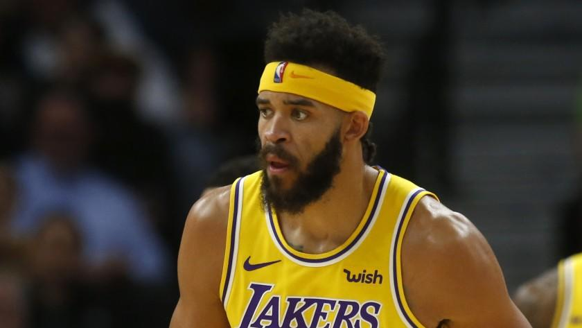 Los Angeles Lakers' JaVale McGee plays against the Minnesota Timberwolves in the first half of an NBA basketball game Monday, Oct. 29, 2018, in Minneapolis. (AP Photo/Jim Mone)