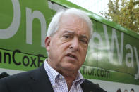 FILE - In this Nov. 1, 2018, file photo, Republican gubernatorial candidate John Cox talks to reporters in Sacramento, Calif. Cox is one of several high-profile Republicans, who is running to replace Gov. Gavin Newsom in the Sept. 14 recall election. Cox and three other Republican candidates are heading into their first televised debate, to be held Wednesday, Aug. 4, 2021. Conservative talk radio host Larry Elder and reality tv personality Caitlyn Jenner will not attend the debate. (AP Photo/Rich Pedroncelli, File)