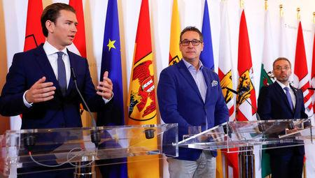 Austrian Chancellor Sebastian Kurz Vice Chancellor Heinz Christian Strache and Interior Minister Herbert Kickl attend a news conference in Vienna Austria
