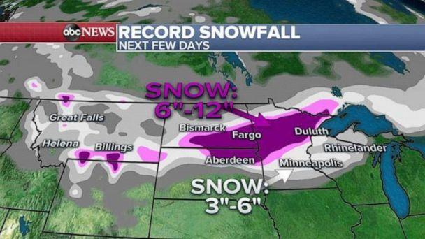 PHOTO: More snow is on the way and expected for the Upper Midwest and the northern Plains later in the week while, over the next few days, some areas could see 6 to 12 inches of additional snow.  (ABC News)