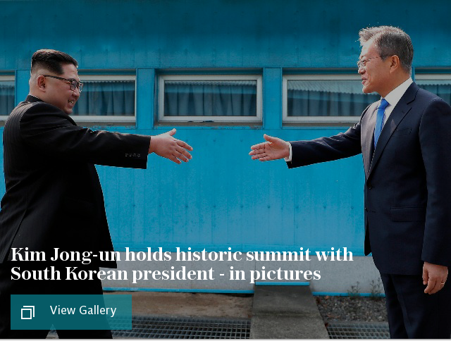 Kim Jong-un holds historic summit with South Korean president - in pictures