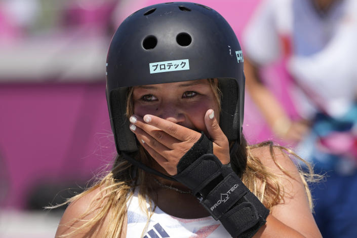 Sky Brown of Britain reacts after winning bronze in the women's park skateboarding finals at the 2020 Summer Olympics, Wednesday, Aug. 4, 2021, in Tokyo, Japan. (AP Photo/Ben Curtis)