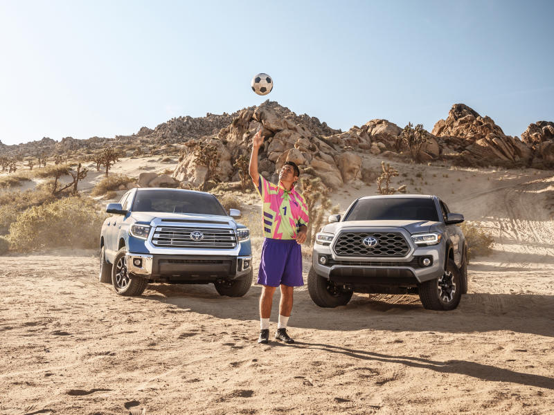 Toyota partners with soccer icon, Jorge Campos on a soccer campaign featuring the Tacoma and Tundra trucks.