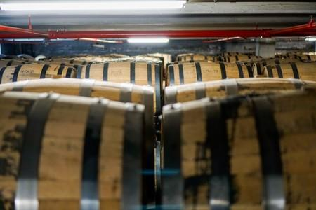 Barrels of rye whisky at Mountain Laurel Spirits LLC makers of Dad's Hat Pennsylvania Rye Whiskey in Bristol Pennsylvania