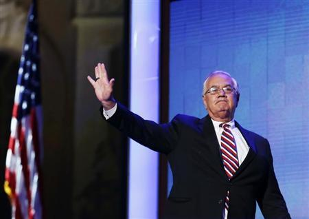 Rep. Barney Frank (D-MA) waves during the final session of the Democratic National Convention in Charlotte, North Carolina September 6, 2012. REUTERS/Jim Young