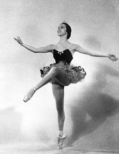 """FILE - This 1951 file photo shows ballet dancer Maria Tallchief of the New York City Ballet. Tallchief died Thursday, April 11, 2013, in Chicago at the age of 88. She joined the company that would become the New York City Ballet in 1948 and was married for a time to George Balanchine, who founded the School of American Ballet in New York. Tallchief worked with Balanchine on such masterpieces as 1949's """"Firebird"""" and his now-historic version of """"The Nutcracker."""" (AP Photo, file)"""