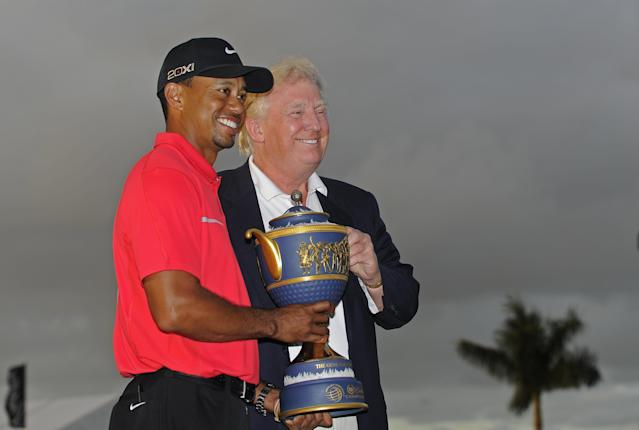 Tiger Woods and Donald Trump in 2013. (Getty)