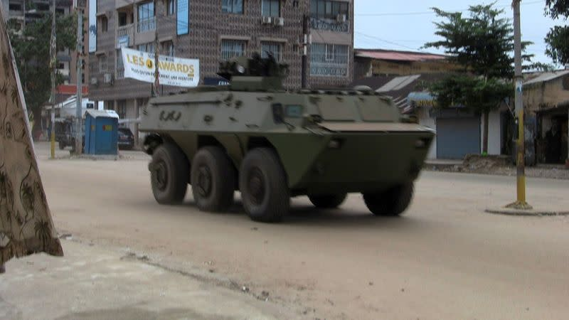 An army vehicle is seen at Kaloum neighbourhood during an uprising by special forces in Conakry