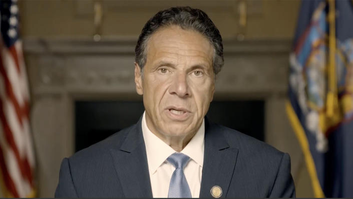 New York Governor Andrew Cuomo responds to sexual harrassment report on August 3, 2021. (NY Governor's Office via Reuters)