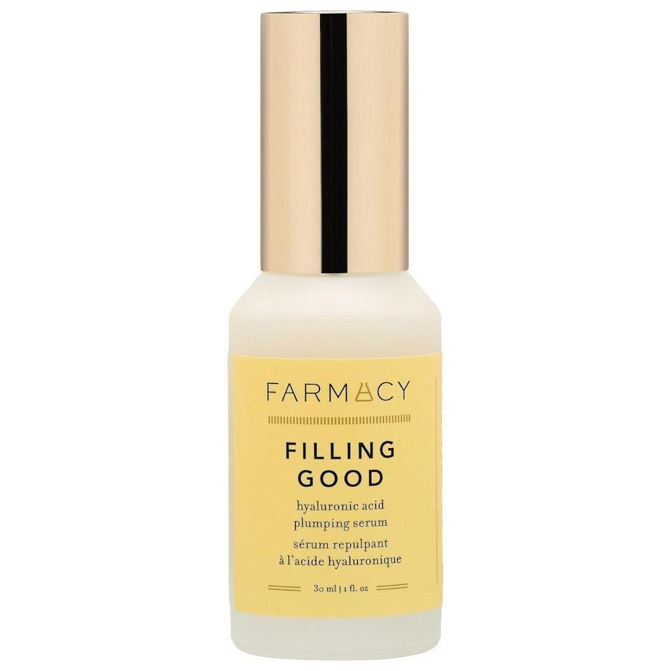 """<p><strong>Farmacy</strong></p><p>sephora.com</p><p><strong>$44.00</strong></p><p><a href=""""https://go.redirectingat.com?id=74968X1596630&url=https%3A%2F%2Fwww.sephora.com%2Fproduct%2Ffarmacy-filling-good-hyaluronic-acid-plumping-serum-P471025&sref=https%3A%2F%2Fwww.elle.com%2Fbeauty%2Fmakeup-skin-care%2Ftips%2Fg8091%2Fface-serum%2F"""" rel=""""nofollow noopener"""" target=""""_blank"""" data-ylk=""""slk:Shop Now"""" class=""""link rapid-noclick-resp"""">Shop Now</a></p><p>Bring back your skin's firmness and elasticity by slathering Filling Good all over your face. While hyaluronic acid penetrates deep into the skin, thyme extract and peptides are fighting fine lines and protecting the skin's barrier.</p>"""