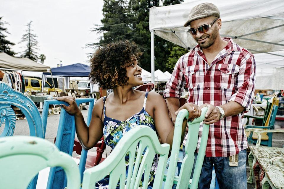 """<p>Some sunny Saturday shop 'til your drop at a flea market, or search out overlooked gems at local yard sales. You'll both get a happy kick out of finding those perfect goodies for each other.</p><p><a class=""""link rapid-noclick-resp"""" href=""""https://www.amazon.com/s?k=reuseable+shopping+bags&ref=nb_sb_noss_2&tag=syn-yahoo-20&ascsubtag=%5Bartid%7C10050.g.35949770%5Bsrc%7Cyahoo-us"""" rel=""""nofollow noopener"""" target=""""_blank"""" data-ylk=""""slk:SHOP REUSABLE SHOPPING BAGS"""">SHOP REUSABLE SHOPPING BAGS</a></p>"""