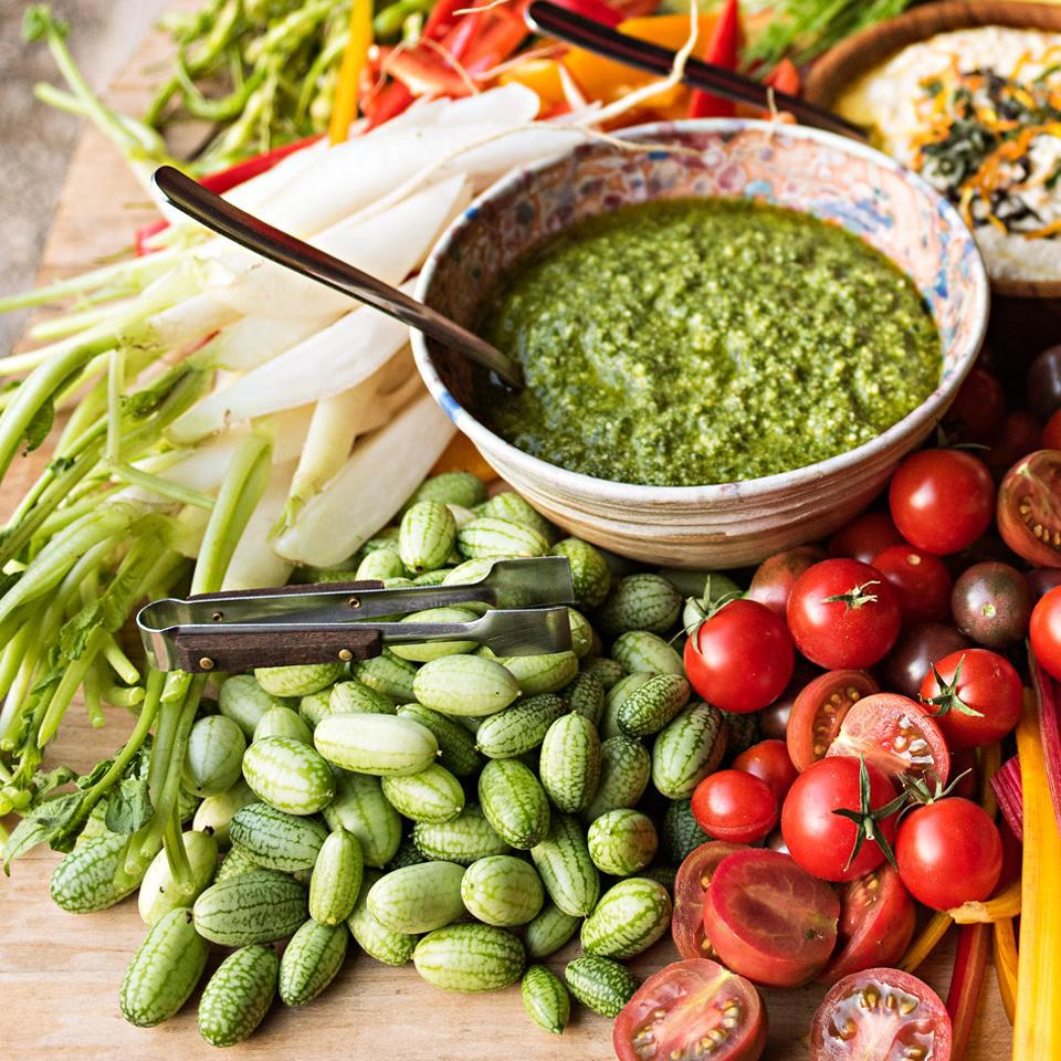 <p>Lovage tastes like cardamom and celery had a baby. If you can't find lovage, increase basil to 1 3/4 cups and add 1 1/2 cups celery leaves. Recipe by Chef/Farmer Stacey Givens of The Side Yard Farm & Kitchen, Portland, OR.</p>