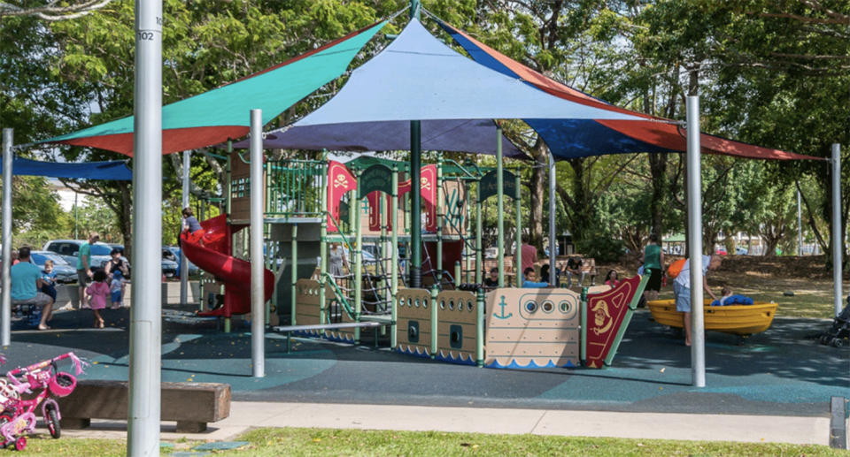 A brightly coloured playground with nautical themes.