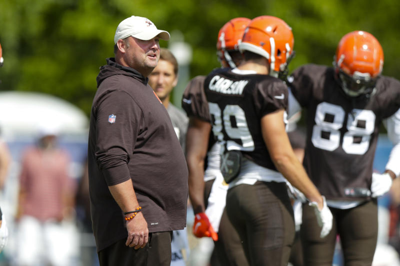Cleveland Browns head coach Freddie Kitchens watches during practice with the at the NFL team's football training camp in Westfield, Ind., Thursday, Aug. 15, 2019. The Browns held a joint practice with the Indianapolis Colts. (AP Photo/Michael Conroy)