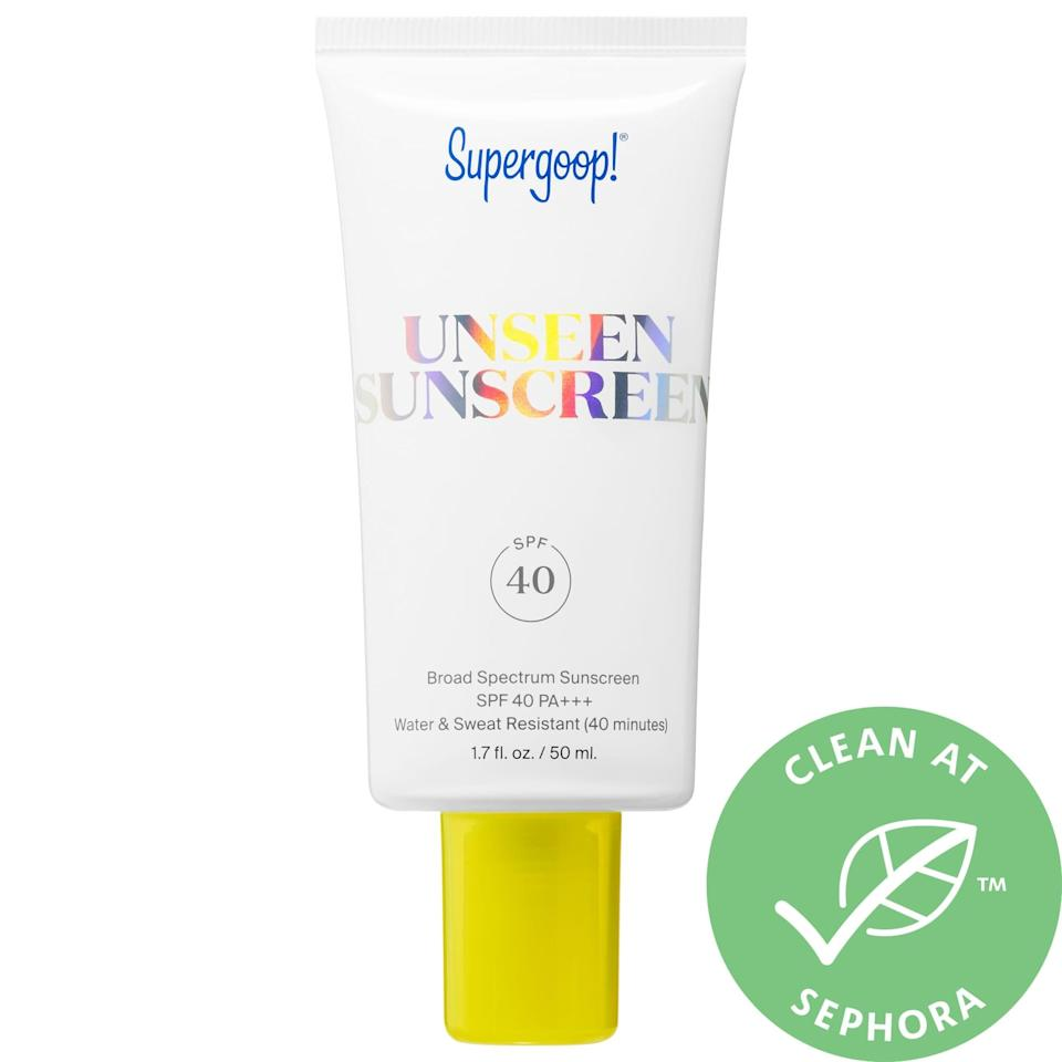 """<p>Not only is blue light bad for your eyes, it's also bad for your skin. Even if you don't go outside, you should be wearing sunscreen to protect and maintain the health of your skin. We like <a href=""""https://www.popsugar.com/buy/Supergoop-Unseen-Sunscreen-SPF-40-552167?p_name=Supergoop%21%20Unseen%20Sunscreen%20SPF%2040&retailer=sephora.com&pid=552167&price=34&evar1=fit%3Aus&evar9=47444628&evar98=https%3A%2F%2Fwww.popsugar.com%2Ffitness%2Fphoto-gallery%2F47444628%2Fimage%2F47444631%2FSupergoop-Unseen-Sunscreen-SPF-40&list1=sephora%2Csupergoop%21&prop13=mobile&pdata=1"""" class=""""link rapid-noclick-resp"""" rel=""""nofollow noopener"""" target=""""_blank"""" data-ylk=""""slk:Supergoop! Unseen Sunscreen SPF 40"""">Supergoop! Unseen Sunscreen SPF 40</a> ($34) because it's made with red algae which protects against blue light emitted from electronics. Additionally, it's made for all skin types, is weightless, scentless, and also acts as a makeup primer!</p>"""