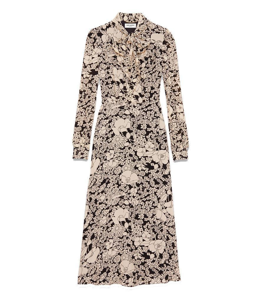 """<p>$3,550, <a href=""""http://www.ysl.com/us/shop-product/women/ready-to-wear-long-dresses-lavaliere-collar-midi-dress-in-black-and-ivory-70-s-flower-printed-viscose-crepe_cod34641830uw.html#section=women_rtw"""" rel=""""nofollow noopener"""" target=""""_blank"""" data-ylk=""""slk:ysl.com"""" class=""""link rapid-noclick-resp"""">ysl.com</a><br><br></p>"""