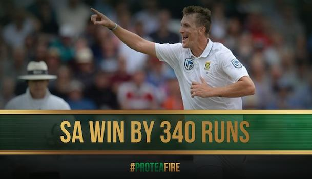 <p>July 17 (CRICKETNMORE) - South Africa thrashed England by 340 runs in the second test at Trent Bridge on Monday to level the series 1-1. England batting completly failed as the home side was bowled out for just 133 in their second innings.</p>