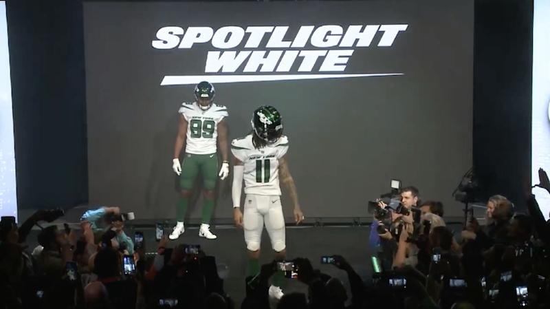 aa849b9ea23 Tight end Chris Herndon and receiver Robby Anderson in the Jets' new white  uniforms.