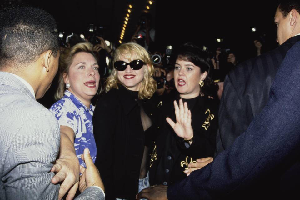 Madonna and Rosie O'Donnell at the New York premiere of A League of Their Own in 1992.