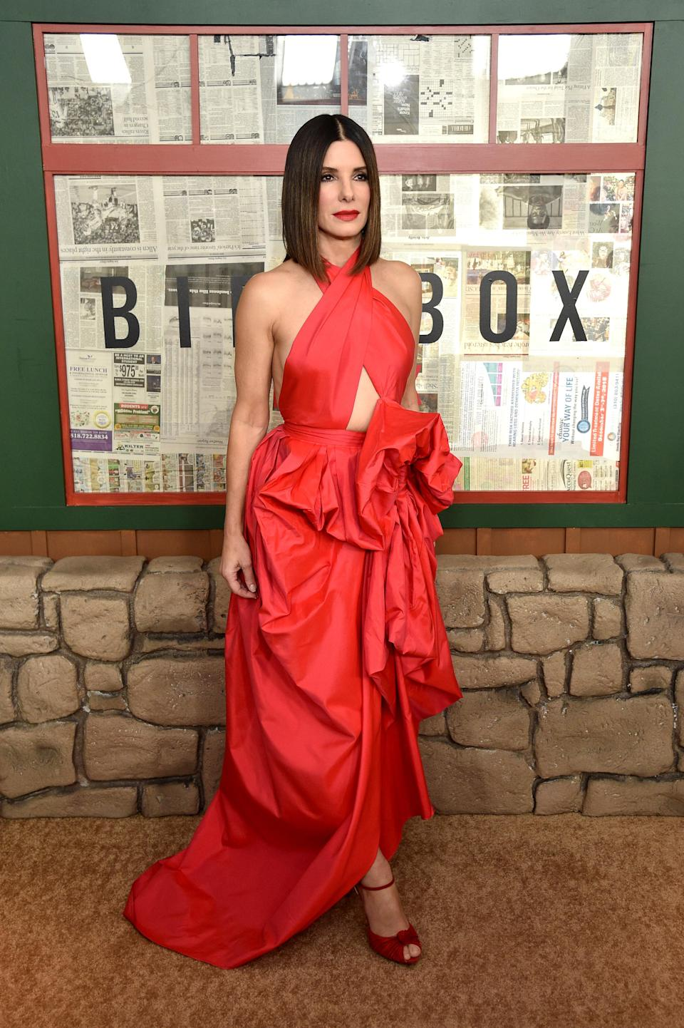 <p>The 54-year-old star picked out a dramatic red gown by Aussie brand Martin Grant to promote her new film. <em>[Photo: Getty]</em> </p>