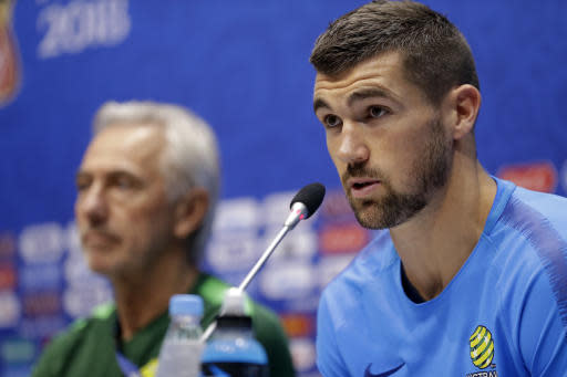 Australia goalkeeper Mathew Ryan speaks during the official press conference on the eve of the group C match between Peru and Australia at the 2018 soccer World Cup in the Fisht stadium, in Sochi, Russia, Monday, June 25, 2018. (AP Photo/Andre Penner)