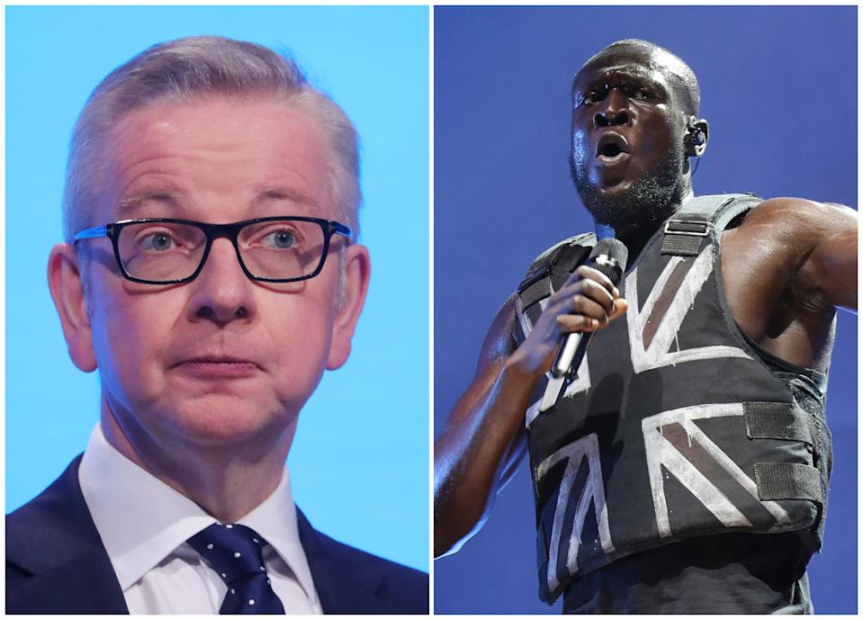 Michael Gove and Stormzy (PA)