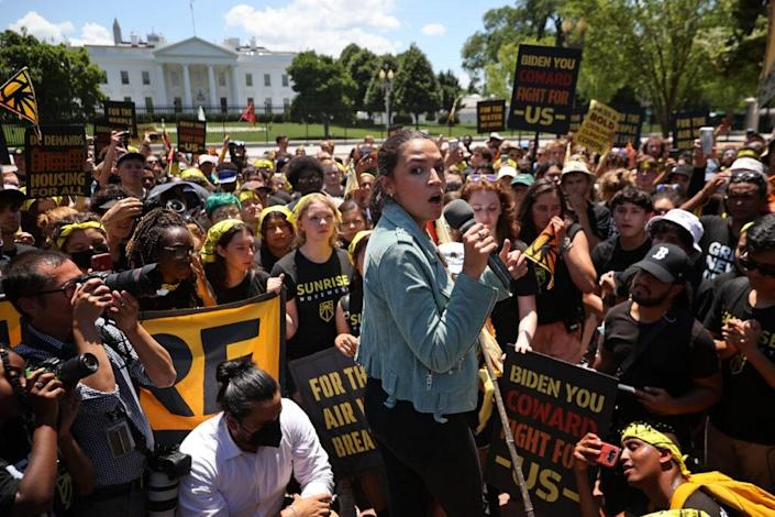 Rep. Alexandria Ocasio-Cortez (D-NY) rallies hundreds of young climate activists in Lafayette Square on the north side of the White House to demand that U.S. President Joe Biden work to make the Green New Deal into law on June 28, 2021 in Washington, DC. (Photo by Chip Somodevilla/Getty Images)