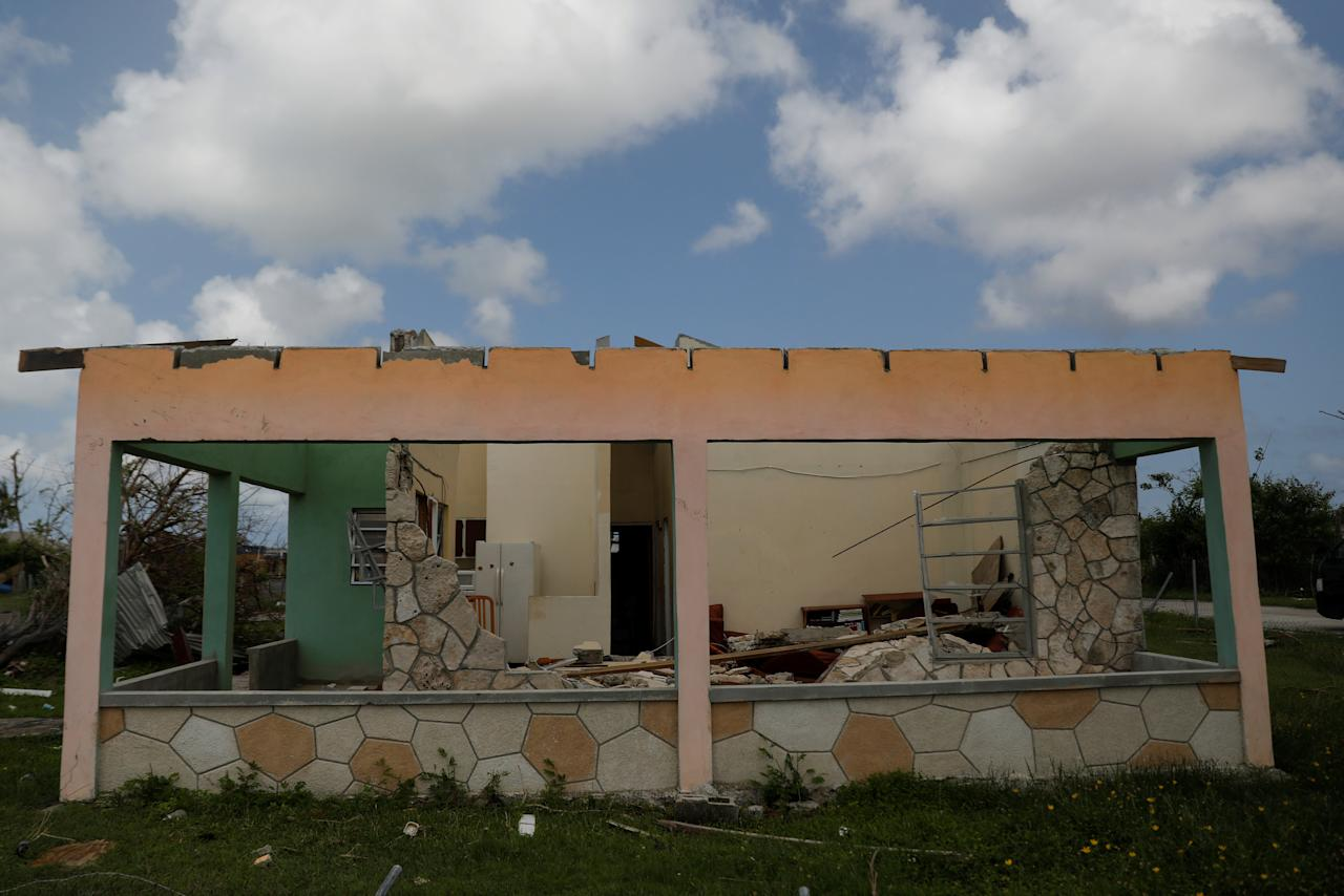 <p>A home is seen in ruins at Codrington on the island of Barbuda just after a month after Hurricane Irma struck the Caribbean islands of Antigua and Barbuda, October 7, 2017. REUTERS/Shannon Stapleton </p>