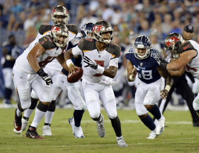 Tampa Bay Buccaneers quarterback Jameis Winston looks for a receiver as he scrambles in the first half of a preseason NFL football game against the Tennessee Titans Saturday, Aug. 18, 2018, in Nashville, Tenn. (AP Photo/Mark Zaleski)