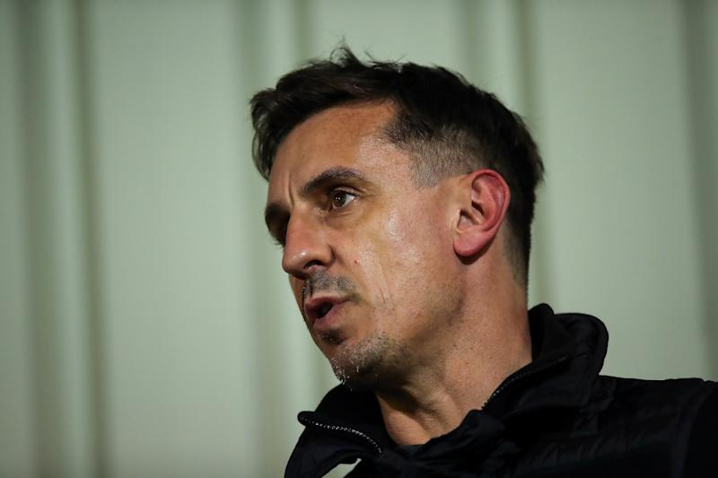 Gary Neville pundit and co-owner of Salford City commentates on the game during the EFL Trophy Northern Group B fixture between Salford City v Manchester United U21.