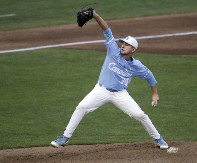 North Carolina pitcher Caden O'Brien delivers against Oregon State during the third inning of an NCAA College World Series baseball elimination game in Omaha, Neb., Wednesday, June 20, 2018. (AP Photo/Nati Harnik)