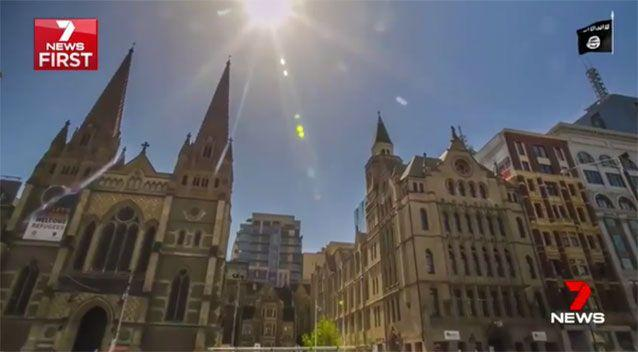 The video shows St Paul's Cathedral. Source: 7News