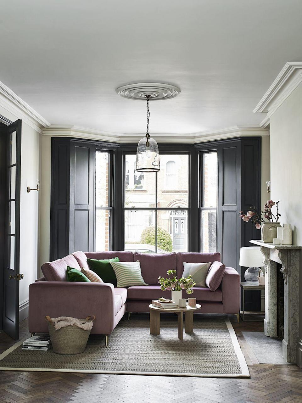 """<p>A surprising second place, pink was the second most popular colour for sofas in 2021. Requiring a keener eye than simple grey to avoid an overly saccharine outcome, rich shades of pink in tactile fabrics – a textured wool or velvet – can be a versatile and sophisticated choice. </p><p>Pictured: <a href=""""https://www.dfs.co.uk/fabric-sofas/exclusive-brand-fabric-sofas/q/brands/House-Beautiful"""" rel=""""nofollow noopener"""" target=""""_blank"""" data-ylk=""""slk:House Beautiful Darcy Sofa at DFS"""" class=""""link rapid-noclick-resp"""">House Beautiful Darcy Sofa at DFS</a> </p>"""