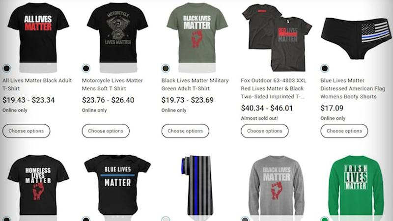 T-shirts were spotted online in Walmart Canada that included the phrases 'Irish lives matter', 'homeless lives matter', 'motorcycle lives matter', and 'red lives matter'. Source: Wallmart