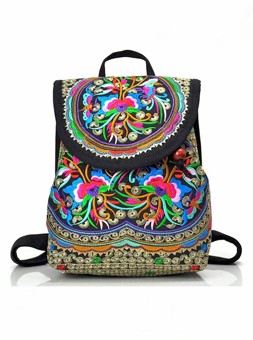 "If she's got adventures planned for the summer, brighten up her travel looks with this embroidered backpack, available in 11 pretty designs. $20, Amazon. <a href=""https://www.amazon.com/dp/B06XRPXC1X/"" rel=""nofollow noopener"" target=""_blank"" data-ylk=""slk:Get it now!"" class=""link rapid-noclick-resp"">Get it now!</a>"