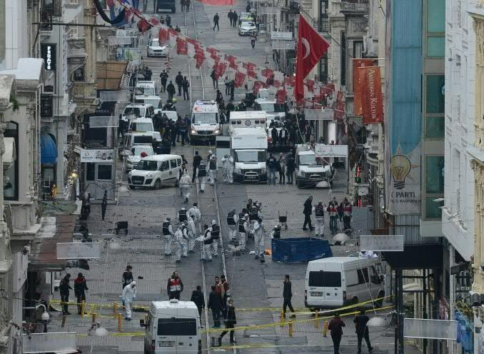 Three Israelis and an Iranian were killed and 39 people wounded when a man blew himself up on Istiklal Caddesi, a famous shopping street in the heart of Turkey's biggest city, on March 19 (AFP Photo/)