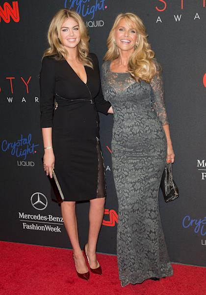 Models Kate Upton, and Christie Brinkley arrives at the 2013 Style Awards at Lincoln Center on Wednesday, Sept. 4, 2013 in New York. (Photo by Ben Hider/Invision/AP)